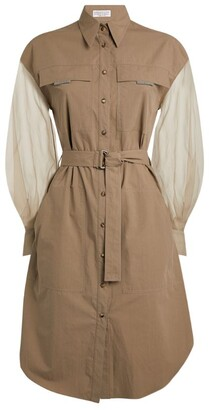 Brunello Cucinelli Tulle-Sleeved Shirt Dress