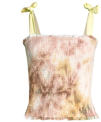 Allison New York Tie-Dyed Smocked Tank Top