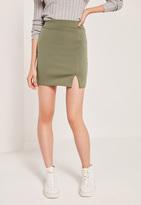 Missguided Petite Scuba Split High Waist Mini Skirt Khaki