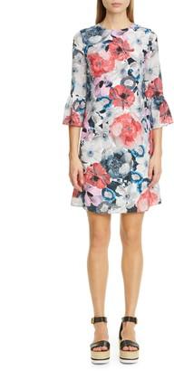 Erdem Floral Stripe Silk Shift Dress