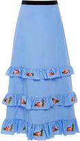Vivetta Embroidered Remora Tiered Poplin Midi Skirt
