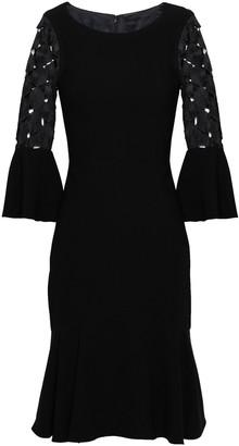 Elie Tahari Guipure Lace-paneled Crepe Dress