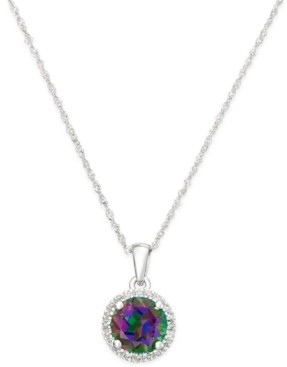 Macy's Mystic Topaz (1-1/2 ct. t.w.) and Diamond Accent Round Pendant Necklace in 14k White Gold