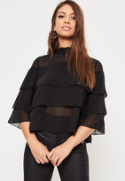 Missguided Petite Exclusive Black Layered Frill Chiffon Blouse