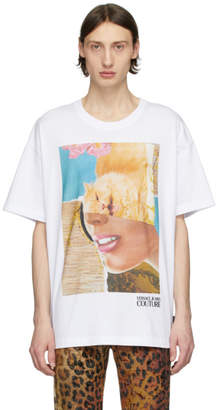 Versace White Rosa Burgess Edition Print T-Shirt