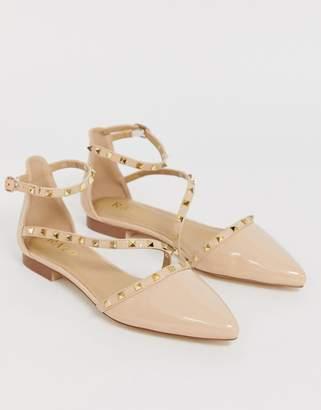 Raid RAID Eden nude patent studded flat shoes-Beige