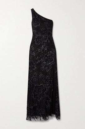 Marchesa One-shoulder Flocked Glittered Tulle Gown - Black