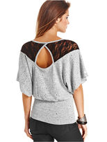 Amy Byer Top, Short Batwing Sleeve Sequin Blouson