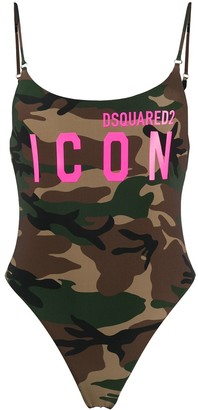 DSQUARED2 Icon camouflage print one-piece