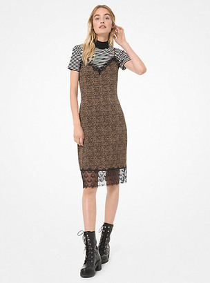 Michael Kors Mini Leopard Matte Jersey Slip Dress
