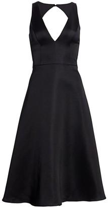 Aidan Mattox Satin Fit & Flare Dress