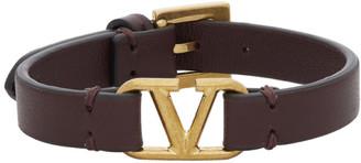 Valentino Burgundy Garavani VLogo Bracelet