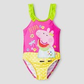 Peppa Pig Toddler Girls' One Piece Swimsuit - Yellow & Pink