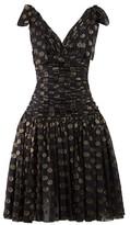 Dolce & Gabbana Polka-dot Ruched Fil Coupe Dress - Womens - Black Gold