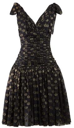 Dolce & Gabbana Polka-dot Ruched Fil Coupe Dress - Black Gold
