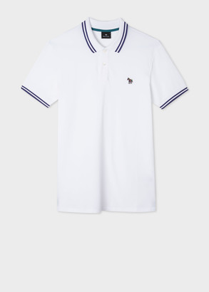Paul Smith Men's Slim-Fit White Zebra Logo Cotton Polo Shirt With Navy Tipping