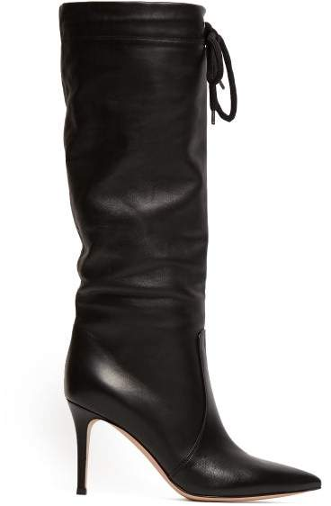 Gianvito Rossi Drawstring Knee High 85 Leather Boots - Womens - Black