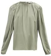 Lemaire Draped Silk-crepe Blouse - Womens - Light Green