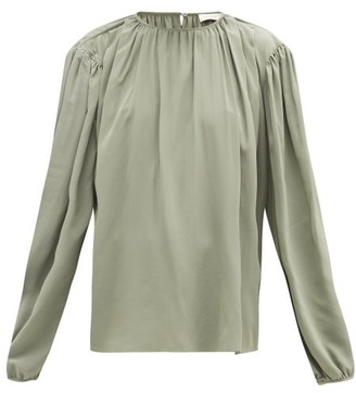 Lemaire Draped Silk-crepe Blouse - Womens - Light Green