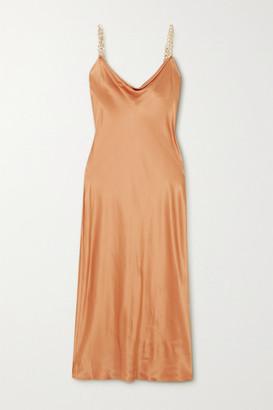 Olivia von Halle Bibi Chain-embellished Silk-satin Midi Dress - Copper