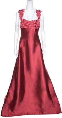 Reem Acra Red Silk Floral Applique Bodice Detail Embellished Gown L