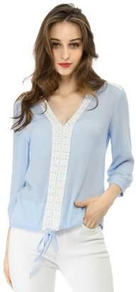 Unique Bargains Women's V Neck Top Drawstring Hem Lace Yoke Blouse XL Blue