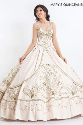 Mary's Quincenera Charro Style Quince Gown in Ivory/Gold
