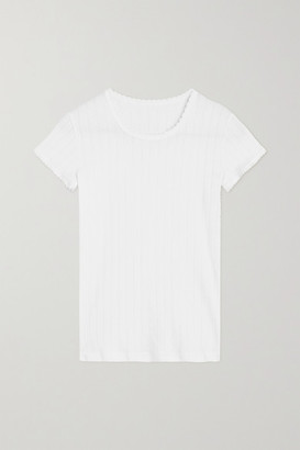 Leset Pointelle-knit Cotton-jersey T-shirt - White