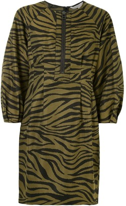 Veronica Beard Animal Print Puff Sleeve Mini Dress