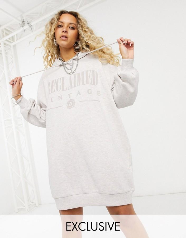Reclaimed Vintage inspired logo hoodie dress in grey