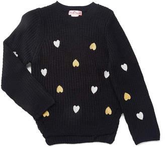 Pink Angel Girls' Pullover Sweaters Black - Black Metallic Heart Sweater - Toddler & Girls