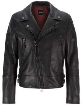 BOSS Short-length biker jacket in nappa leather