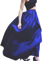Stormmall Autumn Women's High Waisted A line Pleated Full Maxi Ball Gown Skirt