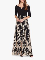 Adrianna Papell Embroidered Gown, Black/Cream