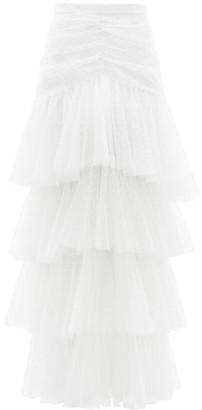 Rodarte Tiered Polka-dot Tulle Skirt - White