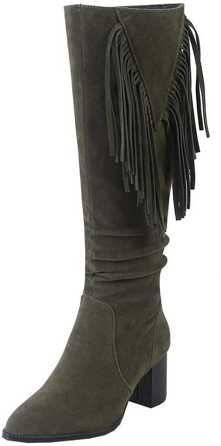 fb76e5349c703 Artfaerie Women's Block Heel Knee High Boots with Tassel Nubuck Leather  Long Fringe Boots(US 9, )