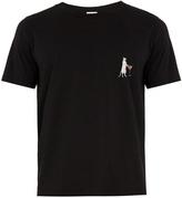 Saint Laurent Cat-print crew-neck cotton T-shirt