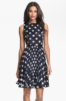 Adrianna Papell Petite Women's Burnout Polka Dot Fit & Flare Dress
