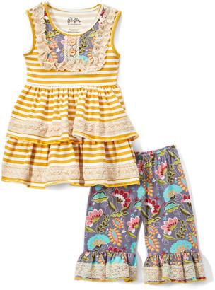 Lulu Ruffles By Tutu And Ruffles by Tutu and Girls' Casual Dresses - Gold Stripe Lace-Detail Ruffle Tunic & Gray Floral Shorts - Toddler & Girls