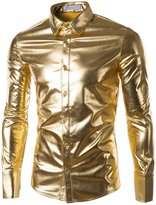 Plumsika Men's Fashion Shiny Nightclub Metallic Silver Button Down Shirts