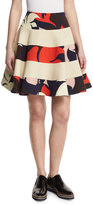 DELPOZO Floral Striped Party Skirt