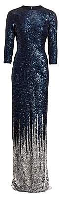 Alice + Olivia Teri Jon by Rickie Freeman Women's Sequin-Embellished Knit Gown