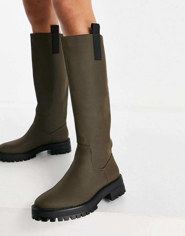 Pull&Bear contrast sole high leg boot in khaki