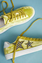 Lola Cruz Beaded Star Velvet Sneakers