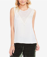Vince Camuto Mesh-Yoke Blouse with Lace Trim