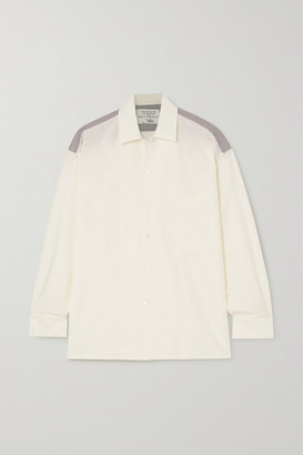 Equipment Archive 6 Striped Cotton-poplin And Cotton And Silk-blend Shirt - White