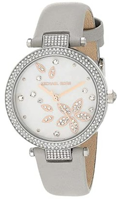 Michael Kors Parker Three-Hand Leather Watch (Gray) Watches