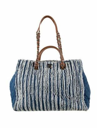 Chanel Large Denim Fringed Shopping Tote blue