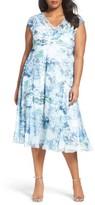 Komarov Plus Size Women's Print Chiffon A-Line Dress