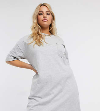 Asos DESIGN Curve ripped pocket oversized t-shirt dress in grey marl